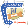 logo for barkers pet motel