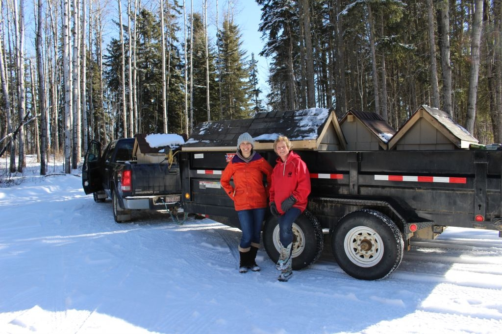 Truck and trailer full of dog houses for the Walls for Winter program